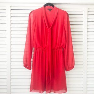 Express Long Sleeves Front Neck Tie Dress Red